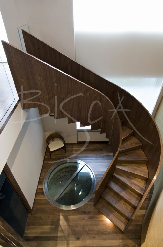 2073 - Bisca walnut veneer staircase design veneered staircases