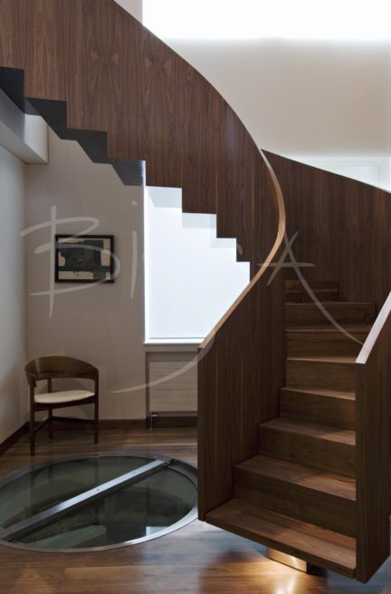 2073 - Bisca walnut veneer staircase design veneered staircases