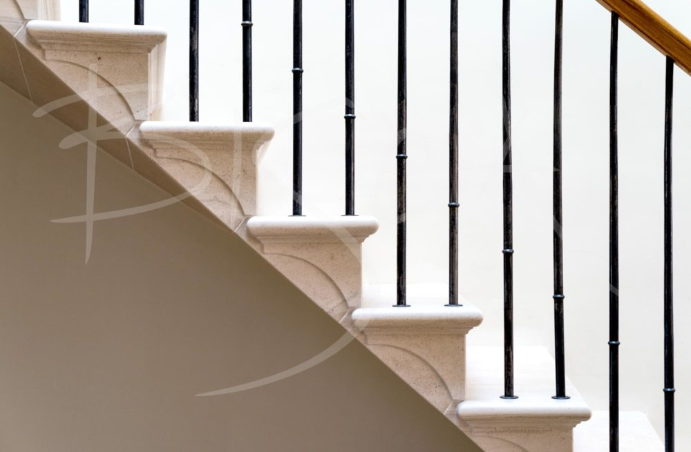 country house stair with forged balustrade detail
