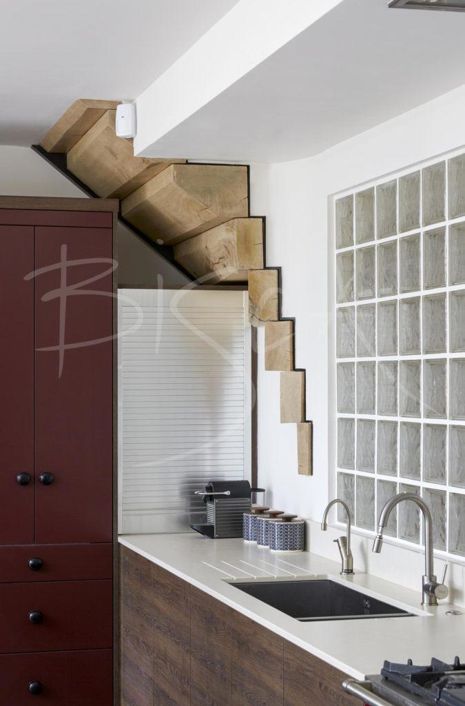 Kitchen area 5351 - Bisca oak staircase design for farmhouse renovation