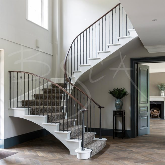 Bisca-7294-U-Shape-Georgian Staircase dark timber volute