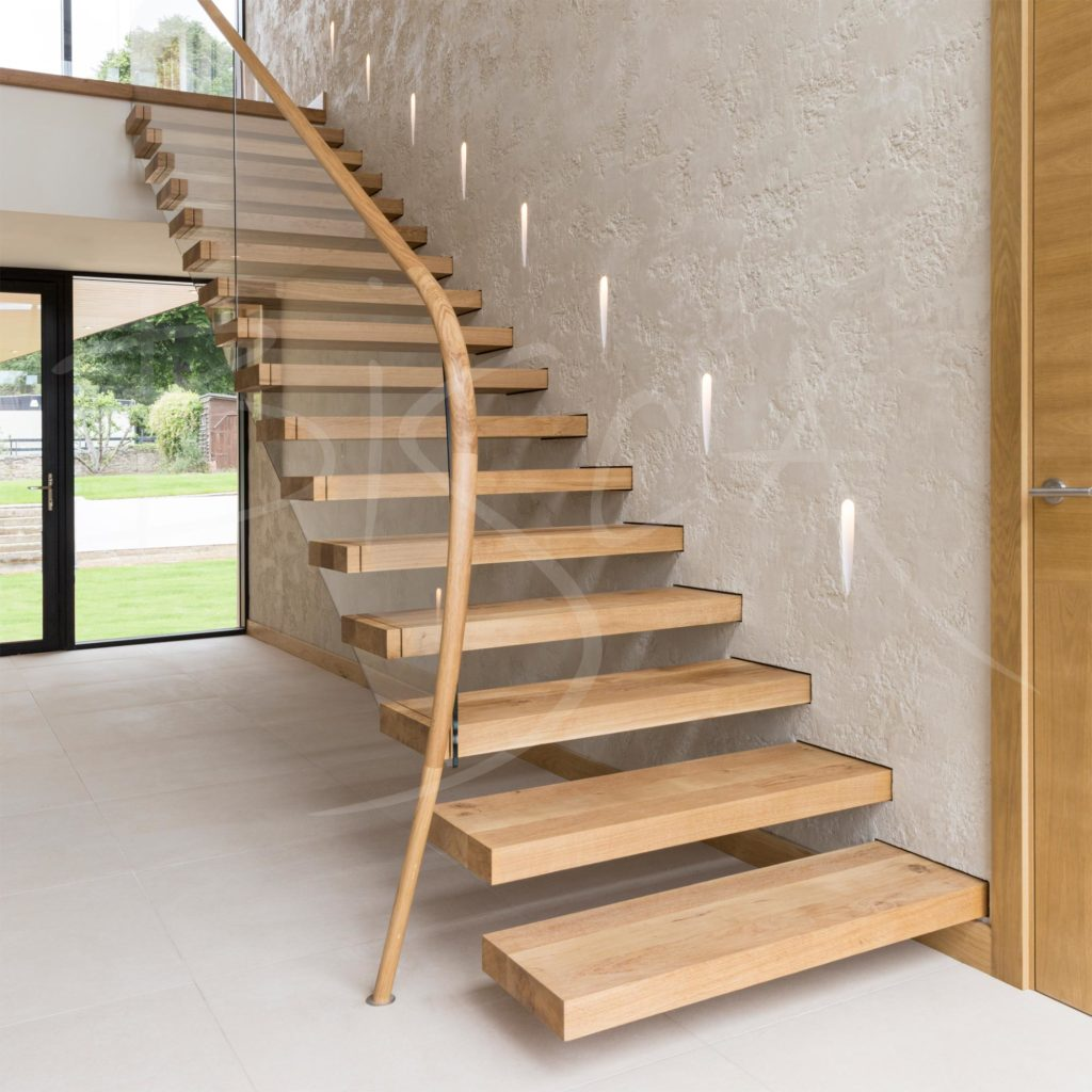 Oak cantilever staircase design uk
