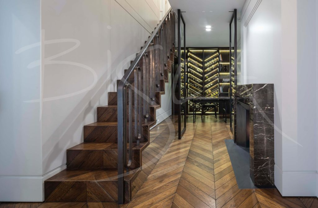 chevron herringbone parquet staircase stairs design London