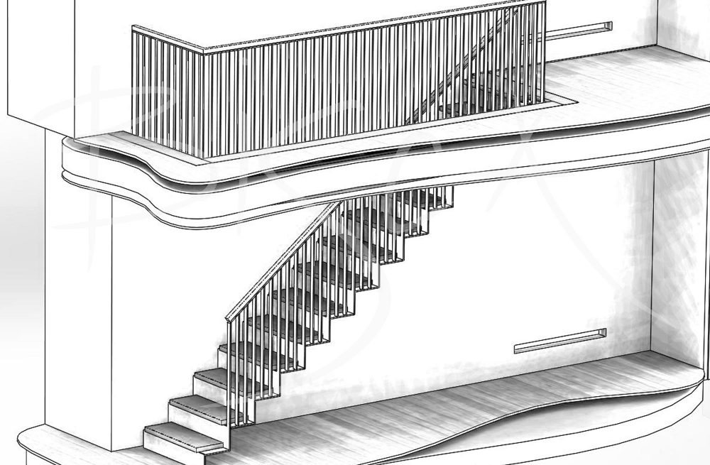 Sketch of stainless steel staircase with sawtooth edges