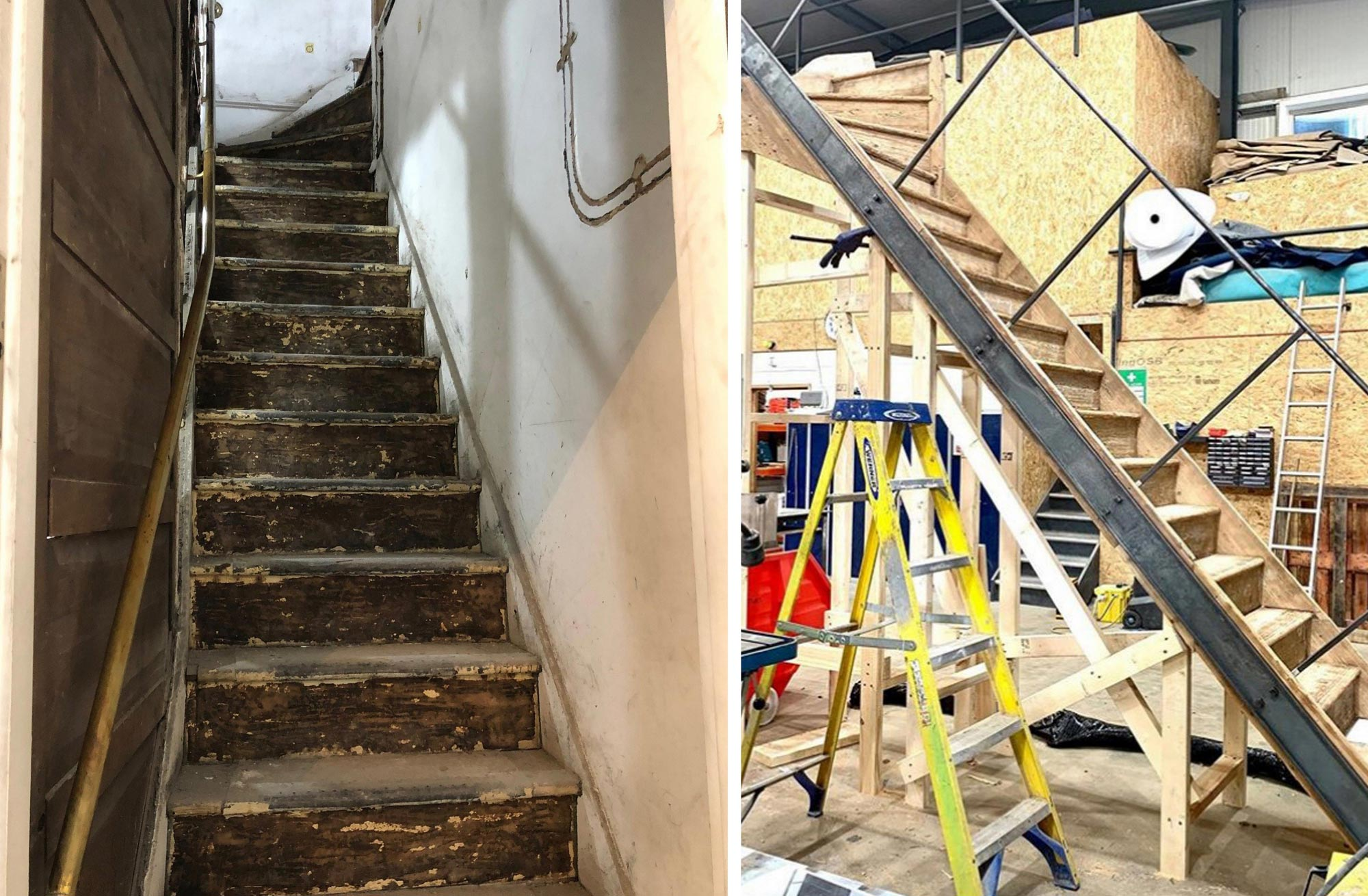 Old stairs and being renovated at Bisca