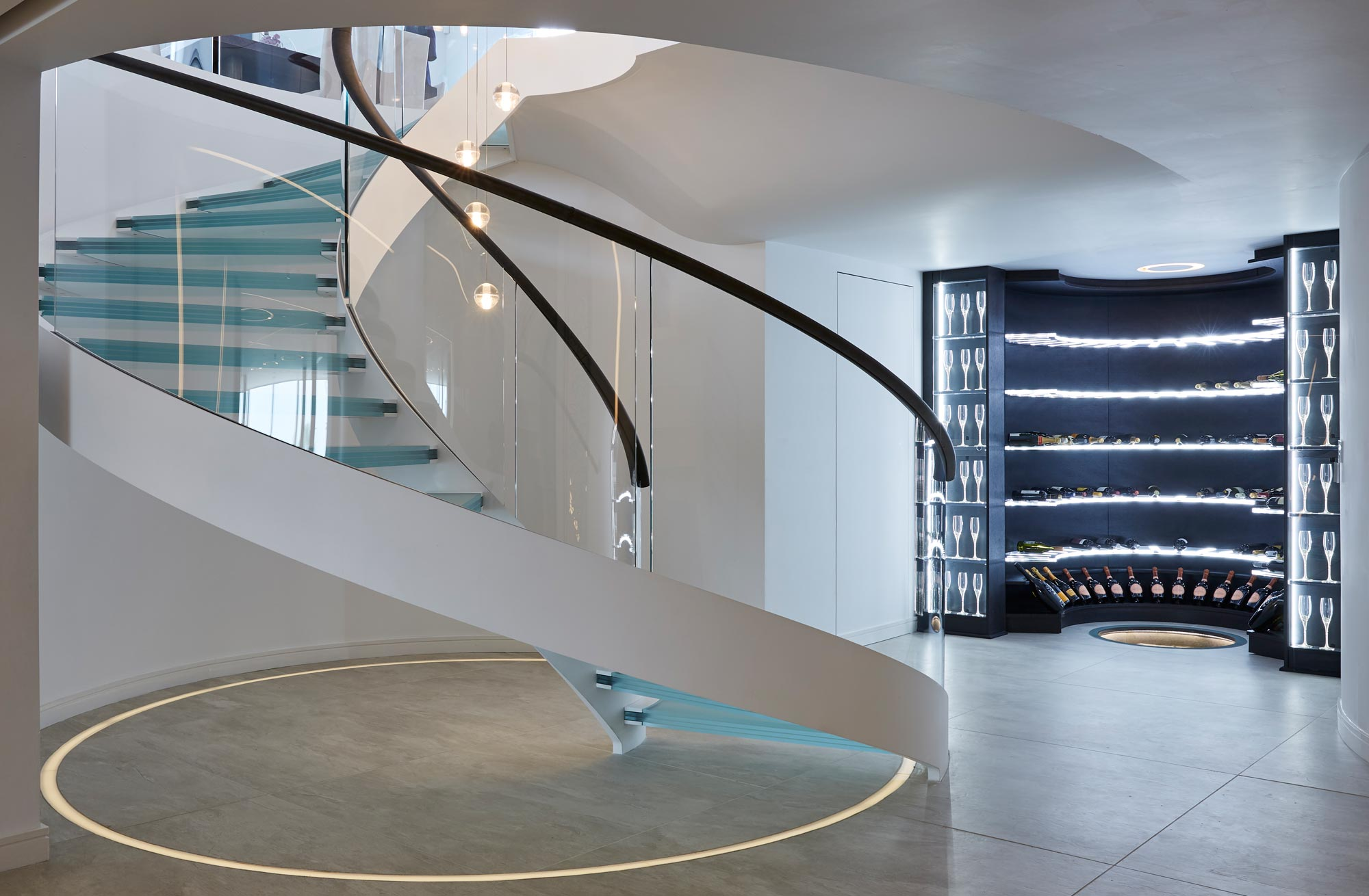 Staircase lighting designer and Bisca worked together on this project