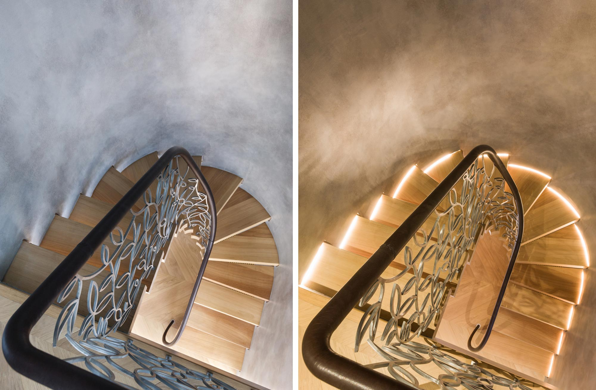 stairwell with lights on and off for warm and cold spiral staircase