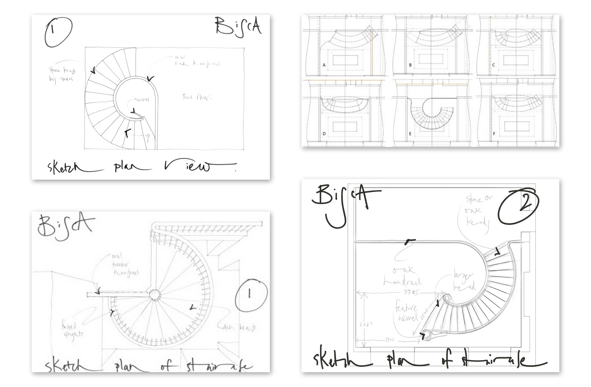 layout plans for a helical or spiral staircase by Bisca