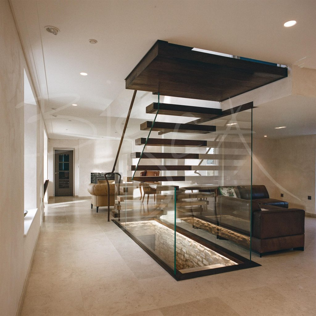 Glass Balustrade on Floating Staircase
